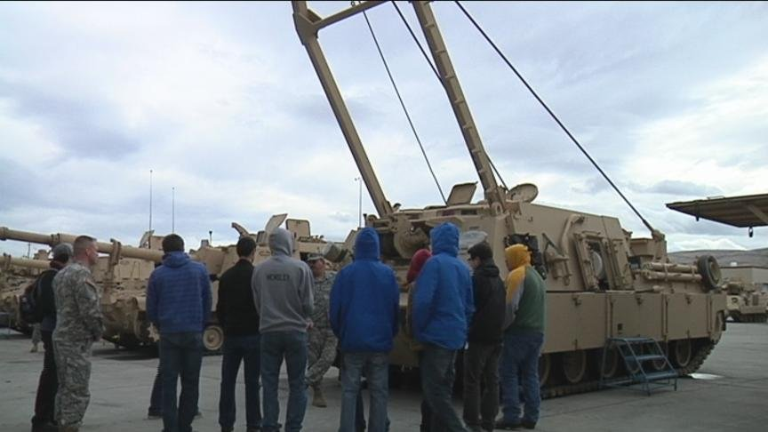 Students from Tri-Tech here in the Tri-Cities were at the Yakima Training Center this morning learning about the Washington National Guard.