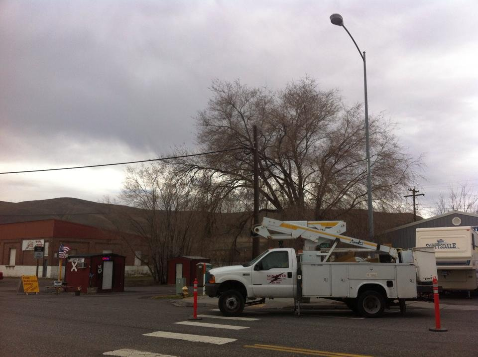 Benton City is looking a little brighter at night these days. The LED street light replacements are now going up.