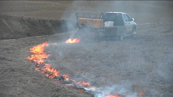 Warmer and dryer temperatures prompted some farmers in the region to start controlled burns in their fields to take care of weeds and thick wild grass.