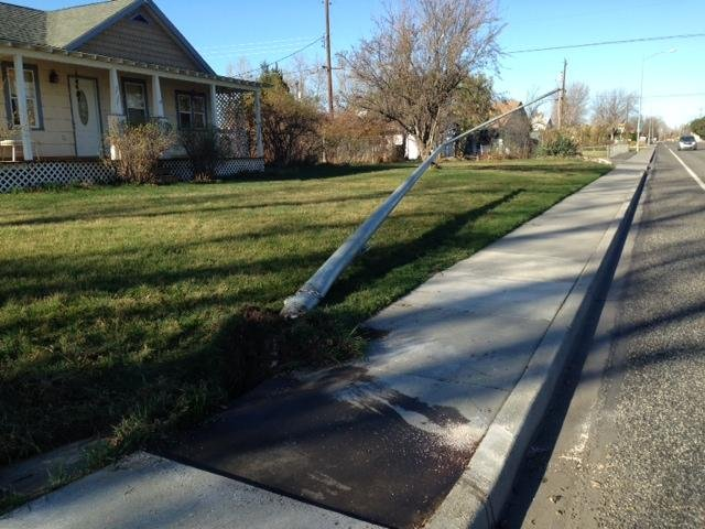 Kennewick Police say a medical problem caused a man to crash into a light pole Tuesday morning.