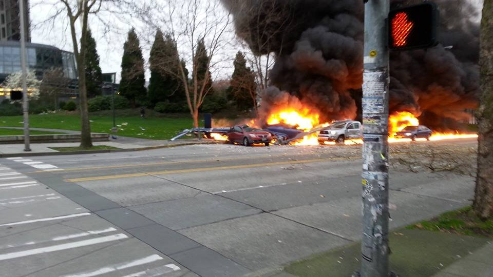 Investigators trying to learn what caused a fiery helicopter crash near Seattle's Space Needle now have surveillance video footage that shows the aircraft taking off from a helipad.