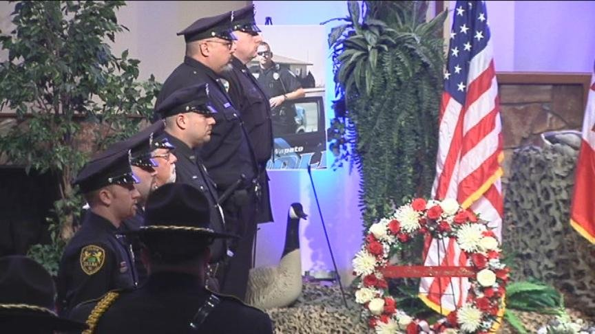 A very emotional service was held in Grandview Friday for a former Lower Valley Police Officer.