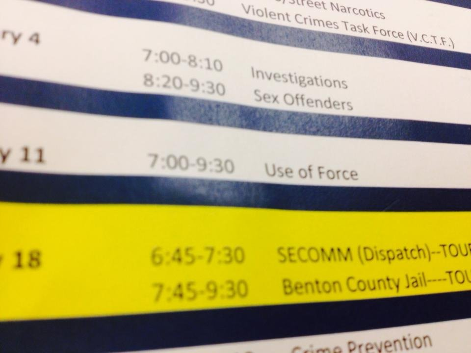 A snapshot of the Citizens Academy schedule.
