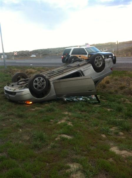 A viewer sent us this photo after a two vehicle collision about 15 miles north of Pasco Thursday.