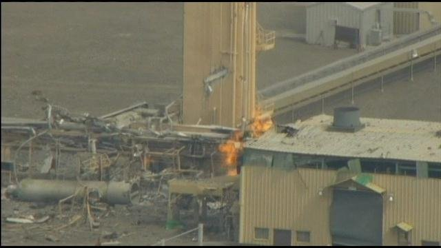 The worker burned during Monday morning's explosion near Plymouth is recovering in a Portland hospital's burn unit.