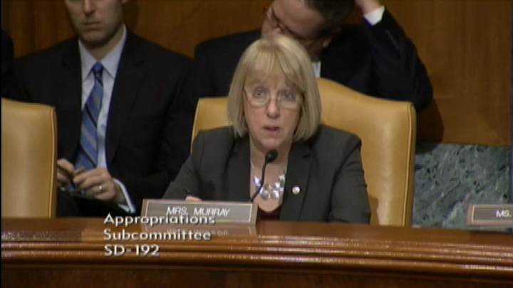 Senator Patty Murray asked Energy Secretary Ernest Moniz some tough questions  Wednesday about Hanford cleanup in the face of proposed major budget cuts.