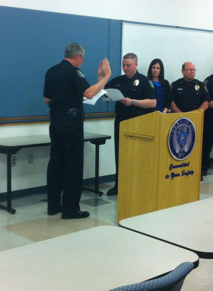 There's a new police officer in town. Kennewick police swore in their newest officer Wednesday.