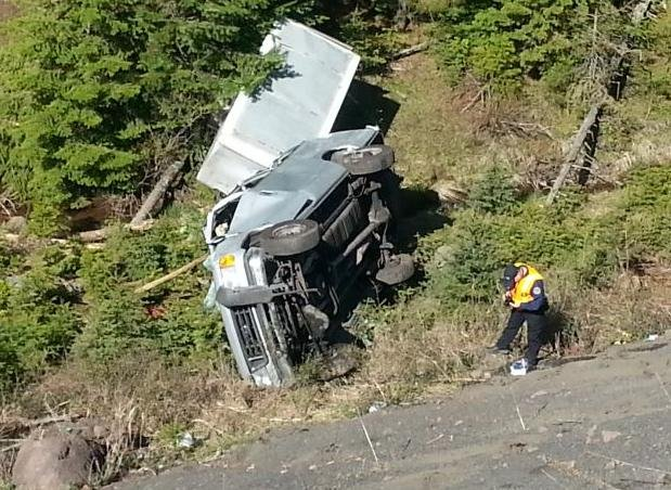 Two people are in critical condition after a van carrying 11 people crashed along Interstate 84 about eighteen miles west of La Grande.