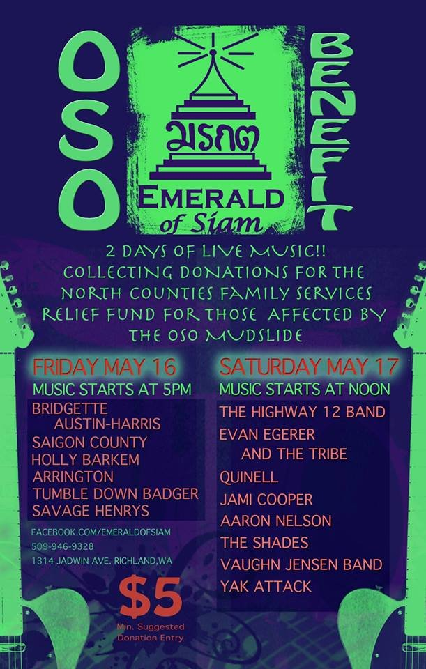 A local restaurant and night club is chipping in to help with recovery efforts at the Oso mudslide. A two day concert starts Friday at the Emerald of Siam in the Uptown Mall in Richland.