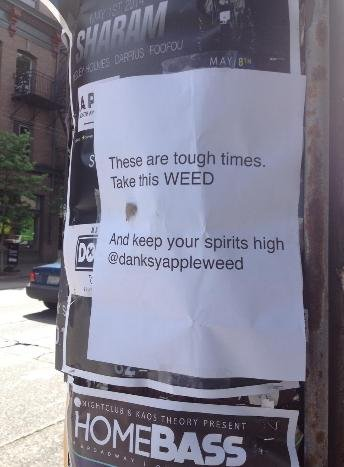 """A woman known as """"The Weed Fairy"""" distributed free nuggets of marijuana to people in Seattle over Memorial Day weekend, taping the free pot on flyers around a city neighborhood. - Courtesy: The Weed Fairy"""