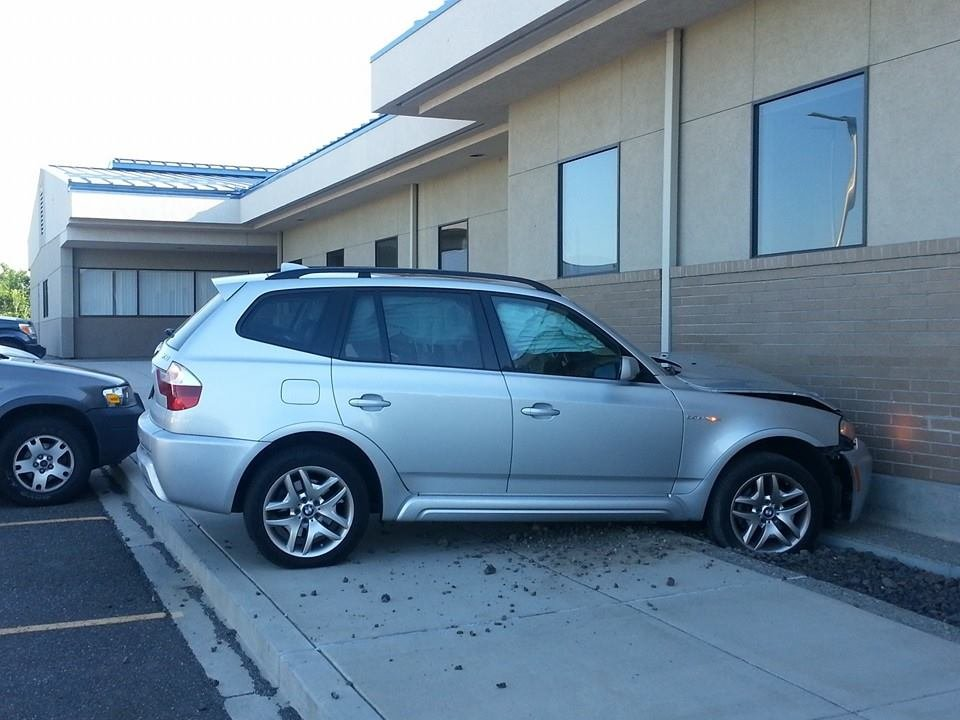 Police in Pasco say a woman accidentally drove her car into the A Building at Columbia Basin College Thursday morning.