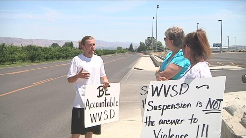 A parent protest outside the West Valley School District caught a lot of attention on social media Wednesday.