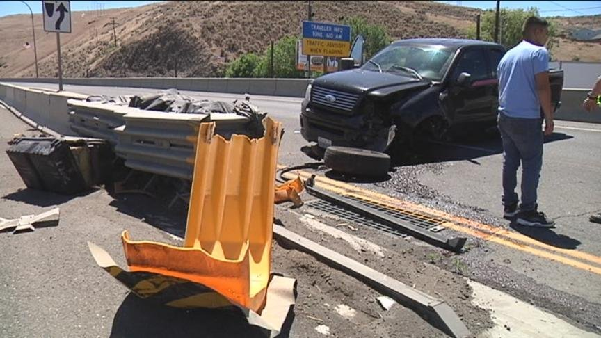 A bad accident in Selah stopped traffic heading into Yakima for more than an hour Friday and troopers say it was all caused by a spilled slurpee.