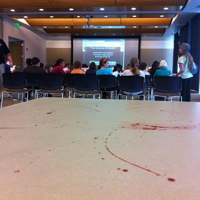 A crowd of sixth through 12th graders that showed up at the Richland Public Library this afternoon. The dozens of kids were there for the first ever CSI: Richland.