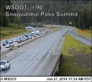 The WSDOT says traffic is backed up and moving slowly on I-90 at Snoqualmie Pass.