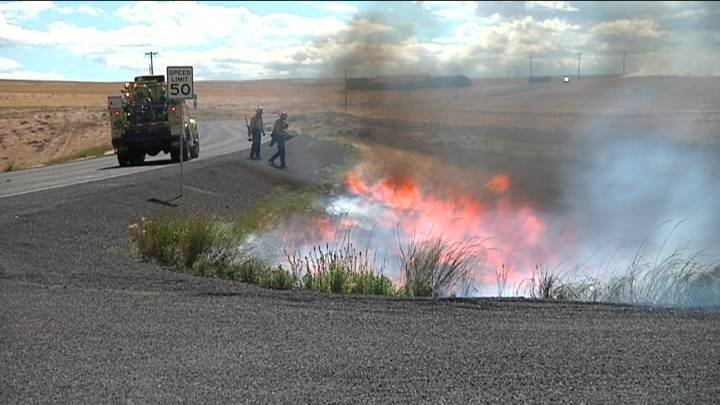 Four brush fires started to burn at the same time around 3 p.m. Sunday afternoon south of Kennewick along state route 397.