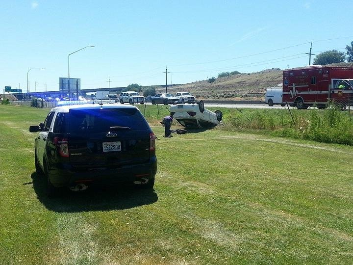 A Kennewick woman is uninjured after being cut-off by another driver Tuesday, sending her car into Columbia Park.