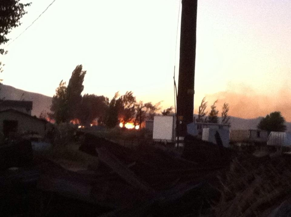 NBC Right Now is on the scene of a fire burning along Naches Heights Road in Yakima County.