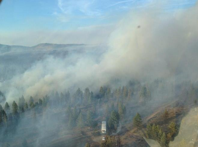 A fast-growing wildfire northeast of Klamath Falls, just north of Sprague River, is destroying homes and forcing dozens of evacuations. Courtesy: Oregon Forestry Dept.