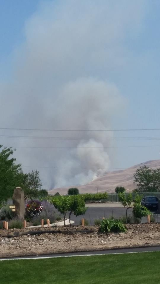 Multiple engines are responding to a brush fire that sparked Tuesday afternoon near Prosser. Courtesy: Brittaney Deaton