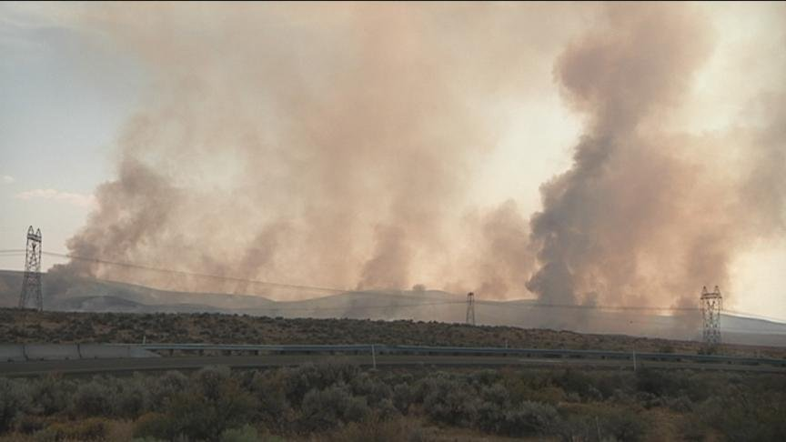 In Yakima and Kittitas Counties, firefighters have their hands full with a couple brush fires popping up Tuesday afternoon. Both fires are off of Interstate 90.