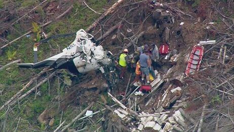 Authorities say a helicopter crashed during a logging operation near Oso, injuring the sole occupant. Courtesy: KING 5