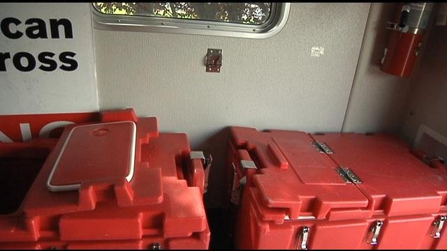 The Benton-Franklin Chapter of Red Cross sent out one of their emergency response vehicles to help those displaced by the wildfires.