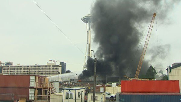 Power was restored to the Space Needle, the monorail and more than 300 other City Light customers near the Seattle Center about two hours after a fire at a nearby substation. Courtesy: KING 5