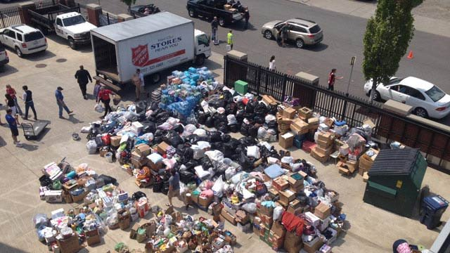 Volunteers are calling it a good problem to have, the folks in charge at the Carlton Complex Fire in Okanogan county said they just cannot accept anymore donated goods because they have nowhere to put them.