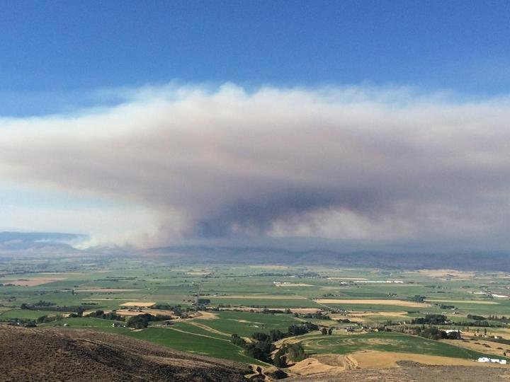 A wildfire Kittitas County is continuing to grow due to significant winds in the area. Courtesy: Kristi Anderson Correia