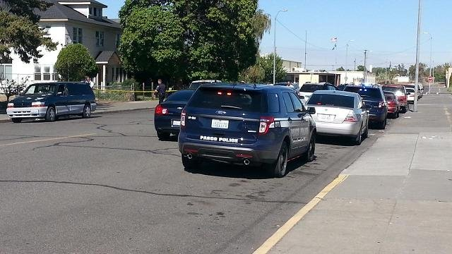 Pasco police are looking for a suspect after a shooting in downtown Pasco.