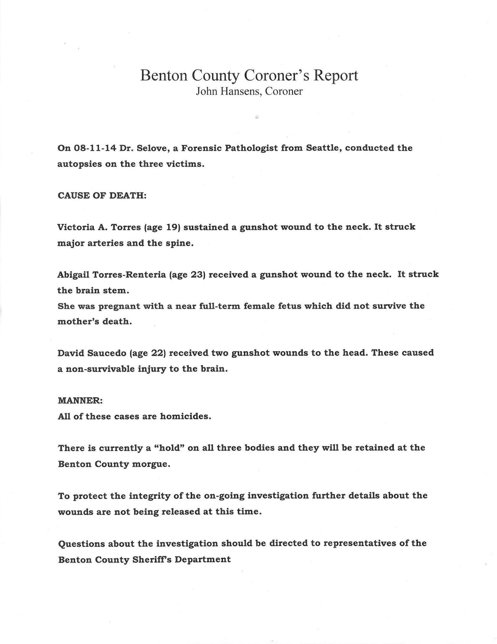 The full release from the Benton County Coroner.