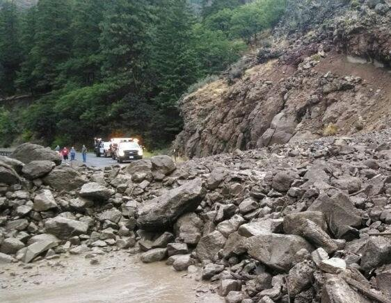 The Washington state Department of Transportation is cleaning up after a mudslide along Highway 12 near Rimrock Tunnel.