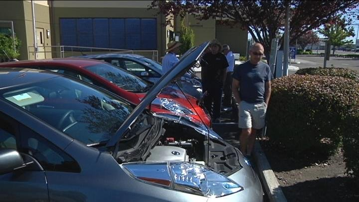 Owners brought their electric cars to tell people about the effects on the environment.