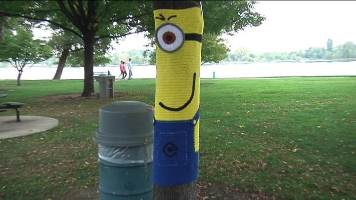 Knitters decorated trees in Howard Amon Park.