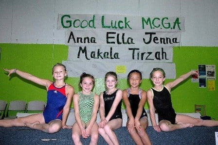 Tirzah Wise, Makala Santos, Ella Bettineski, Anna Sonnichsen and Jenna Lee from Mid Columbia Gymnastics