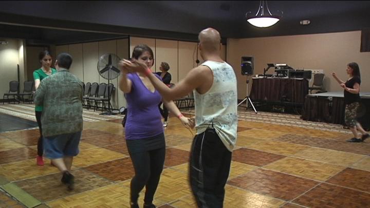 Instructors taught participants various dances.