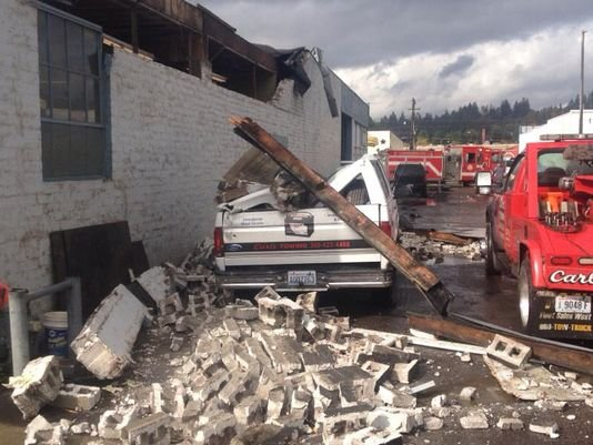 A tornado caused damage in Cowlitz County in the Longview area.  Picture courtesy of Veronica Mirehouse