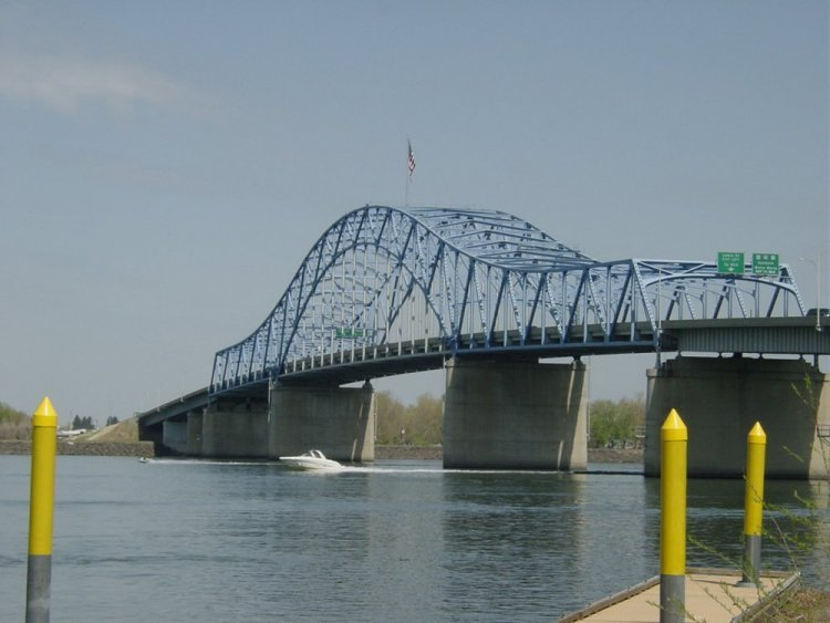 The Blue Bridge will be closed on Sunday while a contractor works on repairing the flag pole.