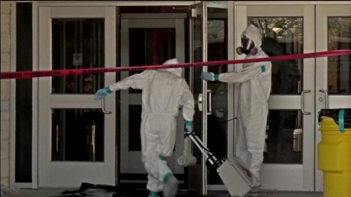 A school in Texas is decontaminated after legitimate ebola scare.