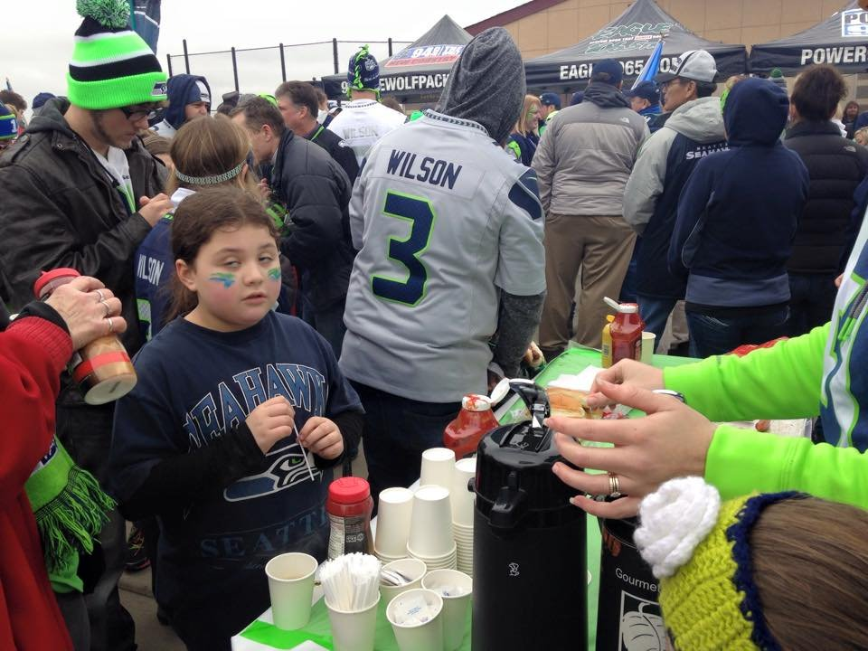 Fans got free hot dogs and coffee at the celebration.