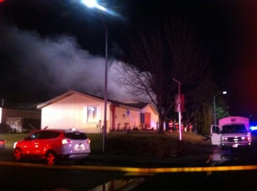 Firefighters were able to keep the fire from spreading to the house.