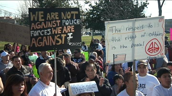 Nearly 700 protestors showed up at the demonstration.