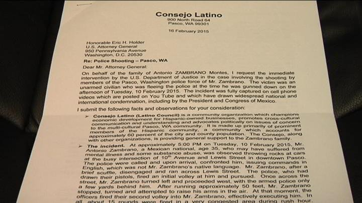 The letter asks for the U.S. Attorney General to investigate the Zambrano death.