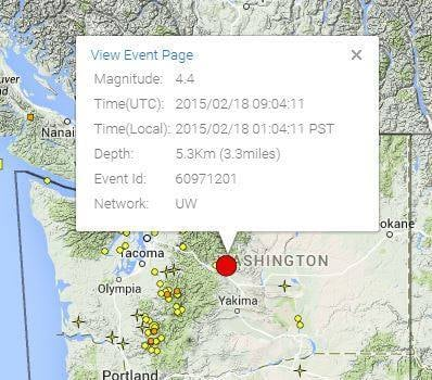 Earthquake reported near Cle Elum and Ellensburg.