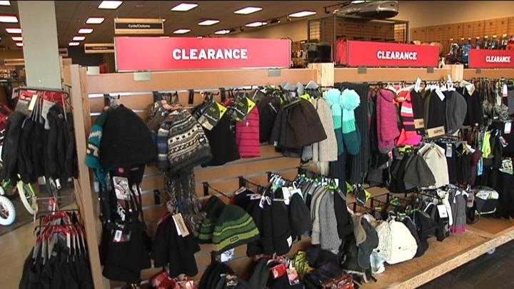 The store's winter gear is all on clearance for customers.