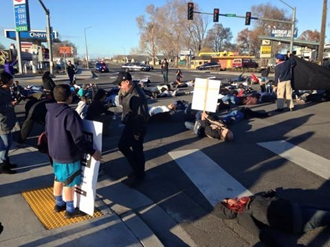 "Protestors did a ""die-in"" at the intersection of 4th and Court Street in Pasco."