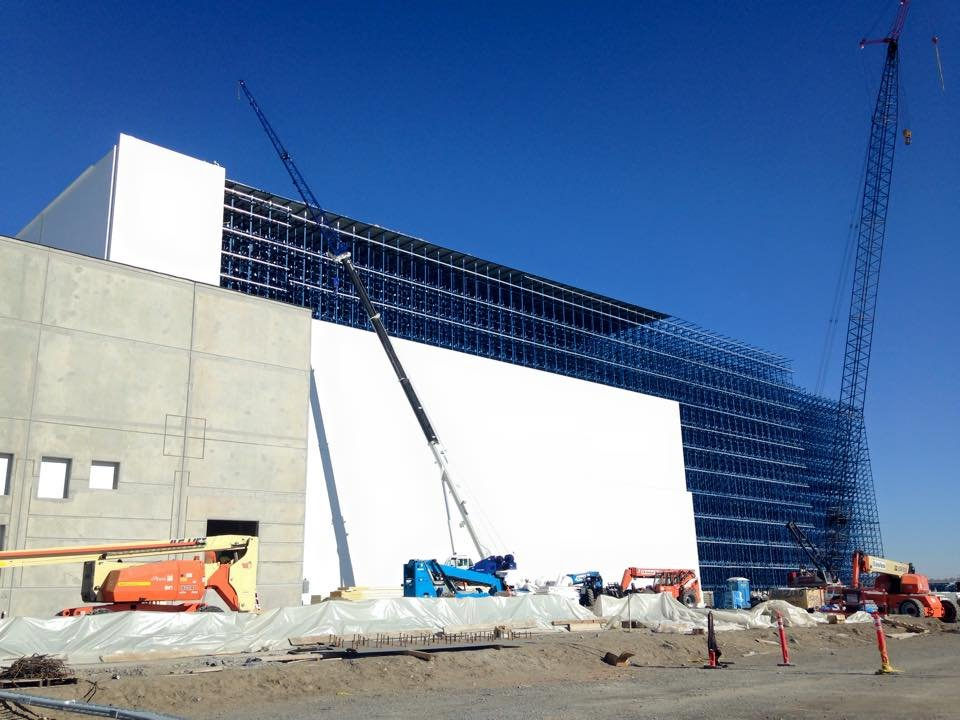 The warehouse is on track to be completed in July.