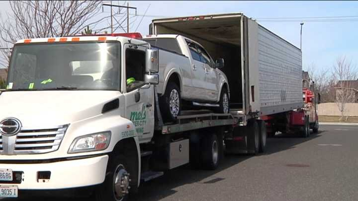 Police found the white Lincoln truck Wednesday morning on South Florida Street.