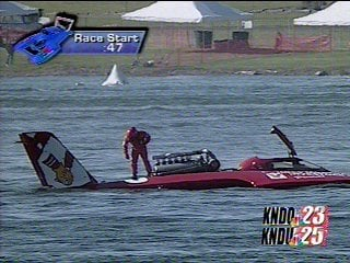 U-3 broke down several times on the water - here it lost a prop in the Dash for Cash
